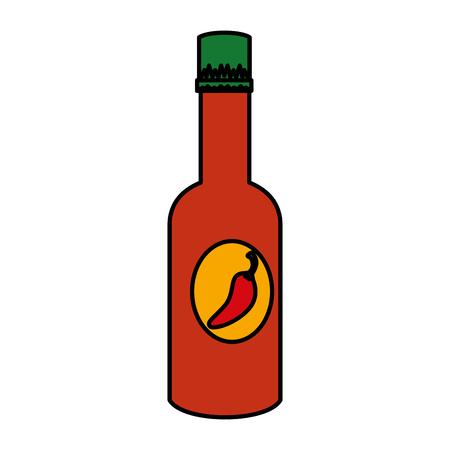 chili pepper sauce bottle vector illustration design  イラスト・ベクター素材