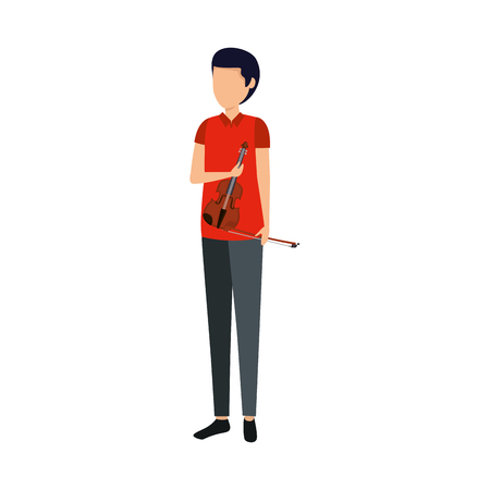 professional violinist avatar character vector illustration design  イラスト・ベクター素材
