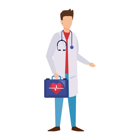 doctor with stethoscope and medical kit vector illustration design Illustration