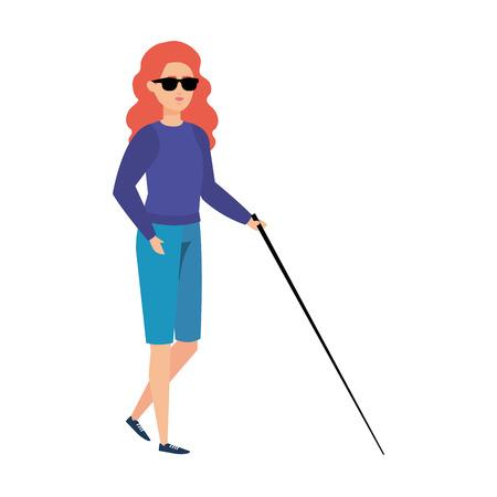 blind woman with walking stick vector illustration design Foto de archivo - 123390440
