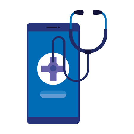 smartphone with medical cross and stethoscope vector illustration design