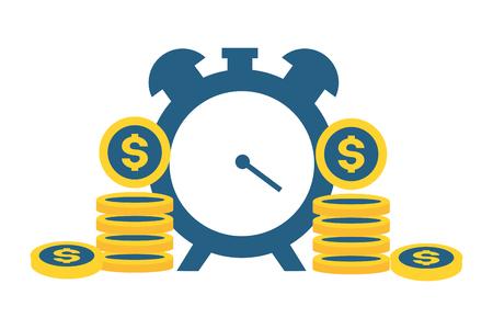 alarm clock coins money tax payment  vector illustration