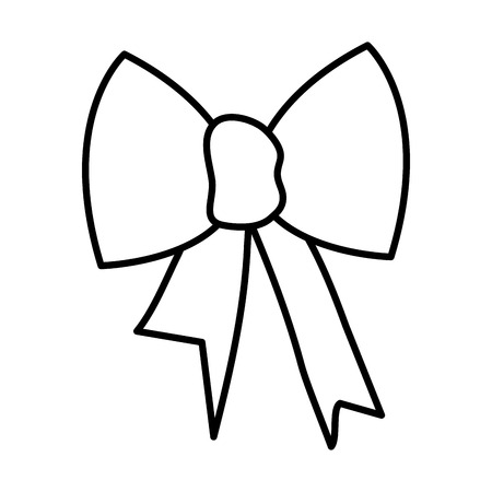 ribbon bow decorative icon vector illustration design Illustration