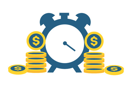 alarm clock coins money tax payment  vector illustration