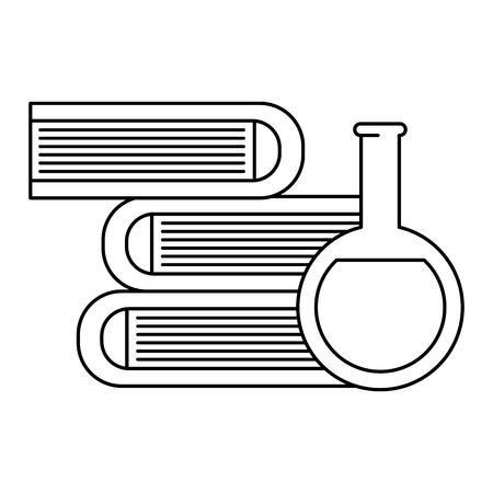 tube test with pile books vector illustration design