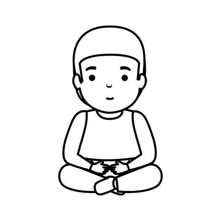 young man seated avatar character vector illustration design Foto de archivo - 121052868