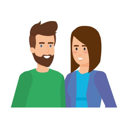 junge Paar Avatare Zeichen Vektor-Illustration Design