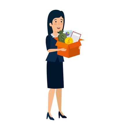 young businesswoman with box business items vector illustration design