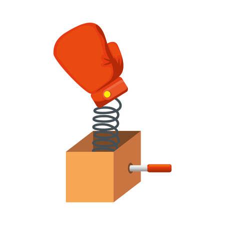surprise box with boxing glove vector illustration design