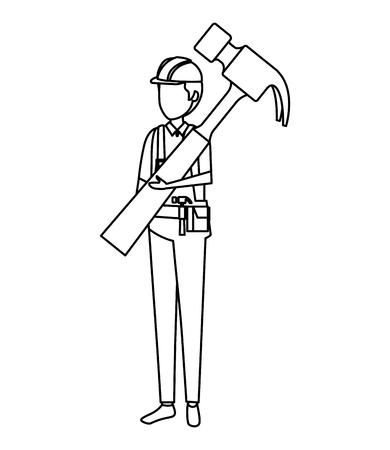 builder worker with helmet and hammer vector illustration design Ilustracja