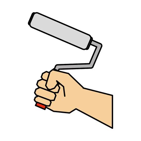 hand using paint roller vector illustration design