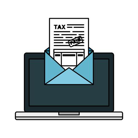 laptop computer with tax documents in envelope vector illustration design Ilustração Vetorial