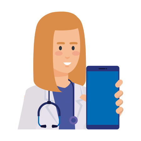 professional female doctor with smartphone telemedicine vector illustration design