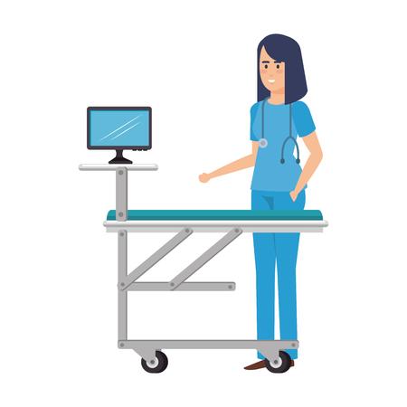 female surgeon with monitor in stretcher vector illustration design Illustration