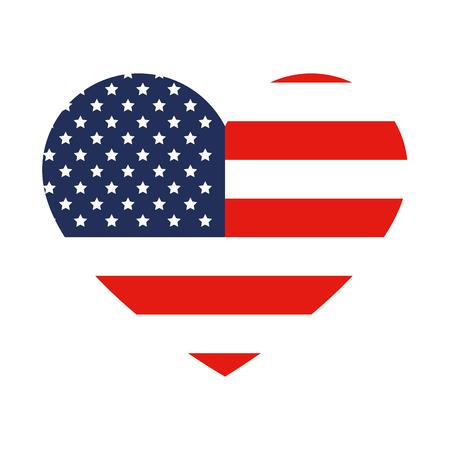 Herz mit Flaggenvektor-Illustrationsdesign der Vereinigten Staaten von Amerika