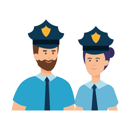 couple polices officers avatars characters vector illustration design