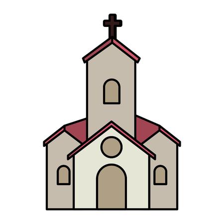 postcard with church facade building vector illustration design Çizim