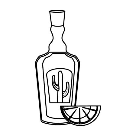 tequila bottle with lemon vector illustration design