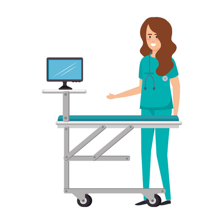 female surgeon with monitor in stretcher vector illustration design Stock Illustratie