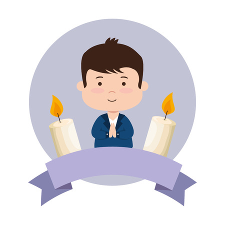 little boy with ribbon and candles first communion vector illustration design Vektorgrafik