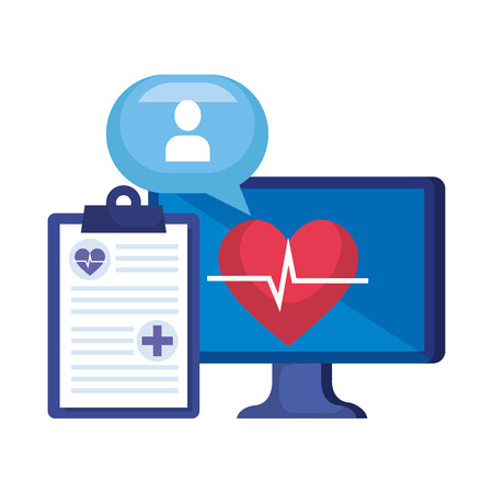 desktop with heart cardio and order telemedicine vector illustration design