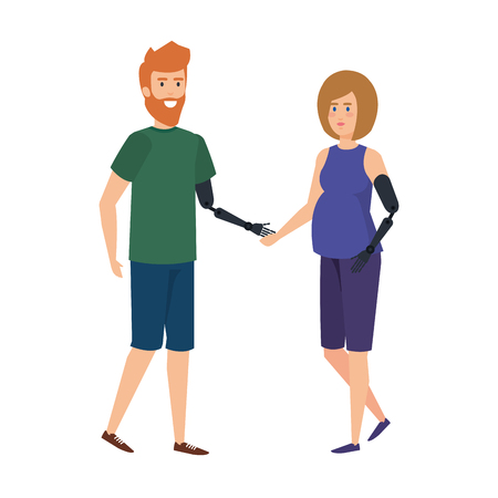 couple with arms prosthesis vector illustration design Illustration