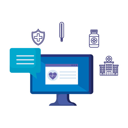 desktop with heart cardio and telemedicine icons vector illustration design