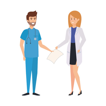 couple of professionals doctor and surgeon characters vector illustration design