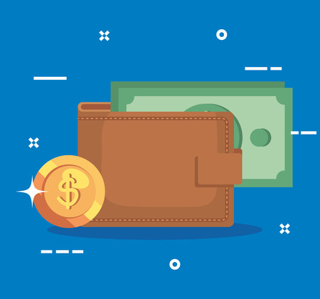 finance wallet with bills and coin money vector illustration Çizim