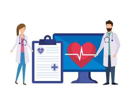 couple of professionals doctors with desktop vector illustration design Illusztráció