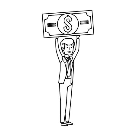 young businessman lifting bill dollar vector illustration design
