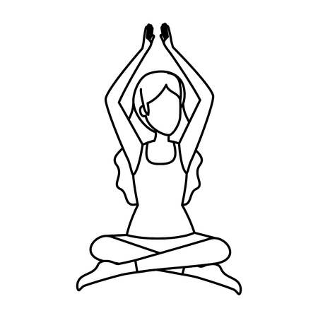 woman practicing lotus yoga position vector illustration design