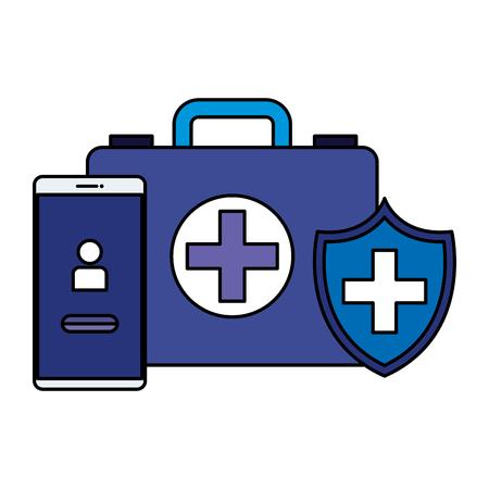 smartphone with medical kit telemedicine vector illustration design