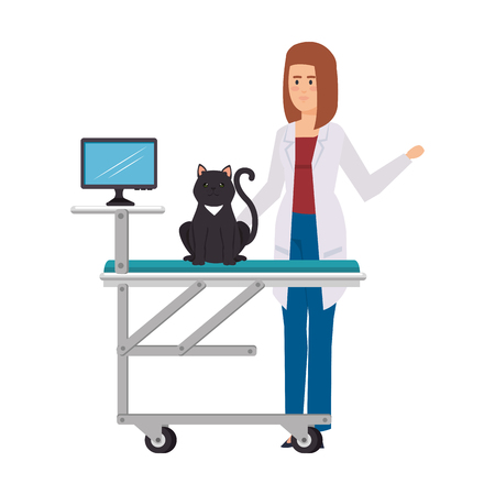 female veterinary with cat in stretcher vector illustration design
