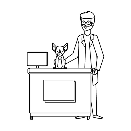 male veterinary doctor with dog vector illustration design