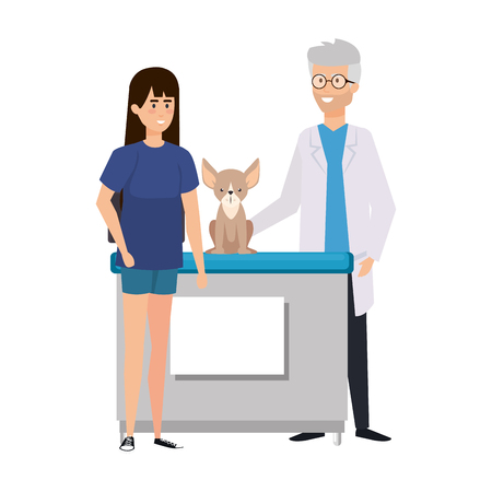 male veterinary doctor with dog and owner vector illustration design