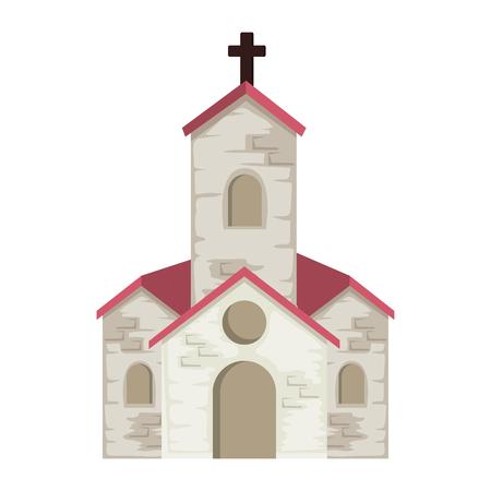 Diseño de ilustración de vector de icono de edificio de fachada de iglesia