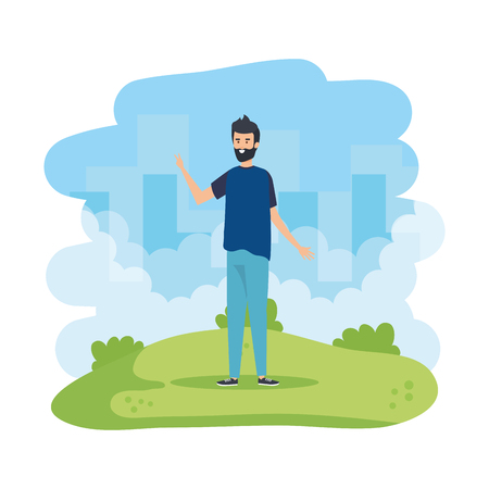 young man celebrating in the field character vector illustration design