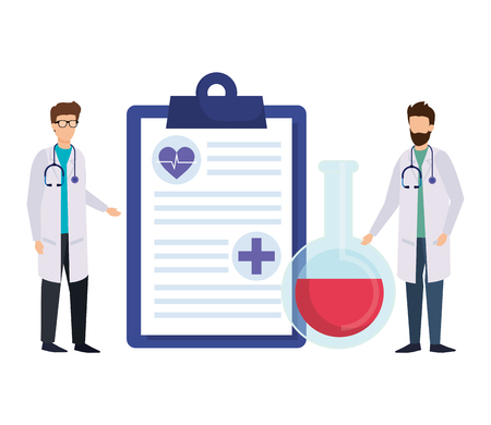 professionals doctors with medical order vector illustration design