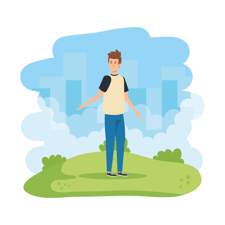 young and casual man in the field vector illustration design Ilustrace