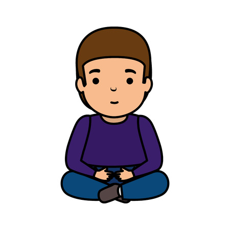 young man seated avatar character vector illustration design Foto de archivo - 121095602