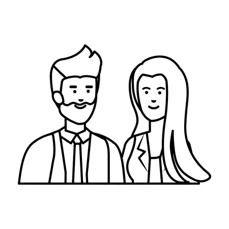 young business couple avatars characters vector illustration design Ilustração