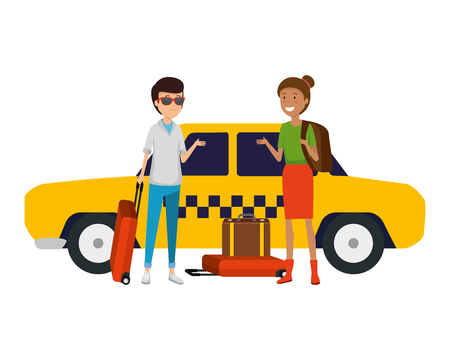 tourist couple with suitcases in taxi characters vector illustration design Standard-Bild - 123349995