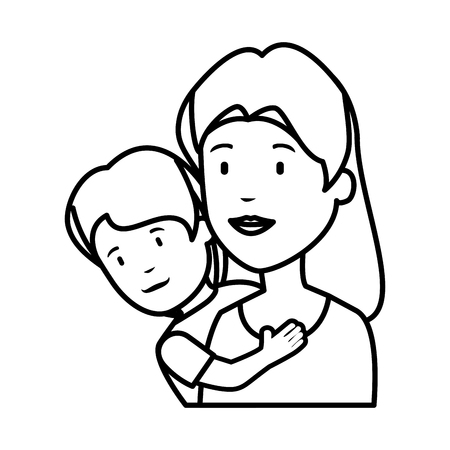 beautiful mother lifting son vector illustration design Ilustrace