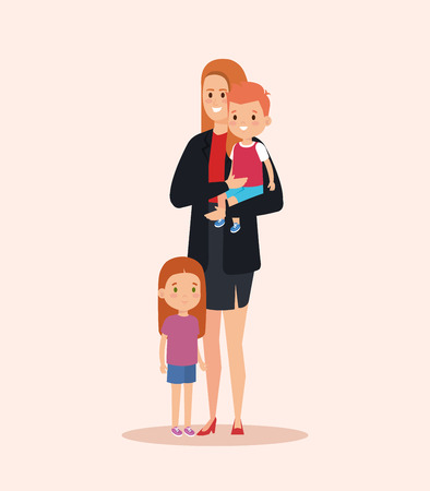 cute woman carrying her son and daughter vector illustration