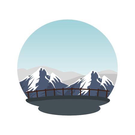 mountains snow landscape scene vector illustration design