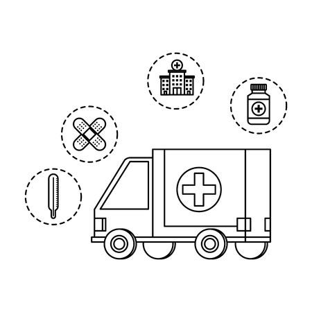 ambulance with medical set icons vector illustration design