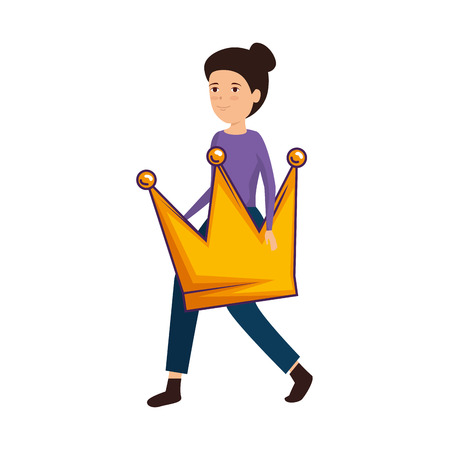 woman lifting queen crown vector illustration design