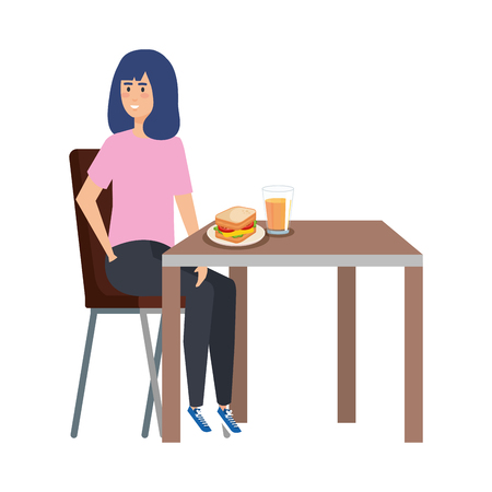 young woman eating in table vector illustration design