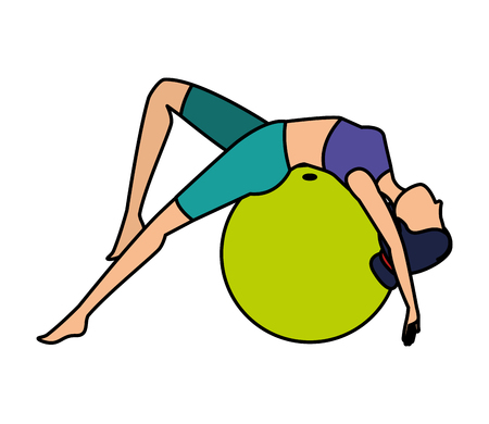 woman practicing yoga position with balloon vector illustration design